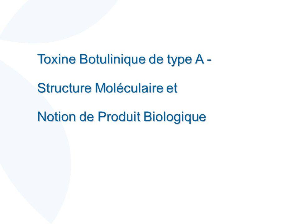 Toxine Botulinique de type A - Structure Moléculaire et Notion de Produit Biologique