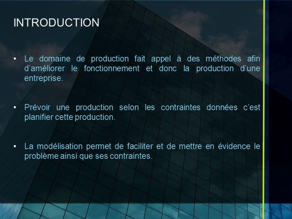 INTRODUCTION Le domaine de production fait appel à des méthodes afin daméliorer le fonctionnement et donc la production dune entreprise. Prévoir une p