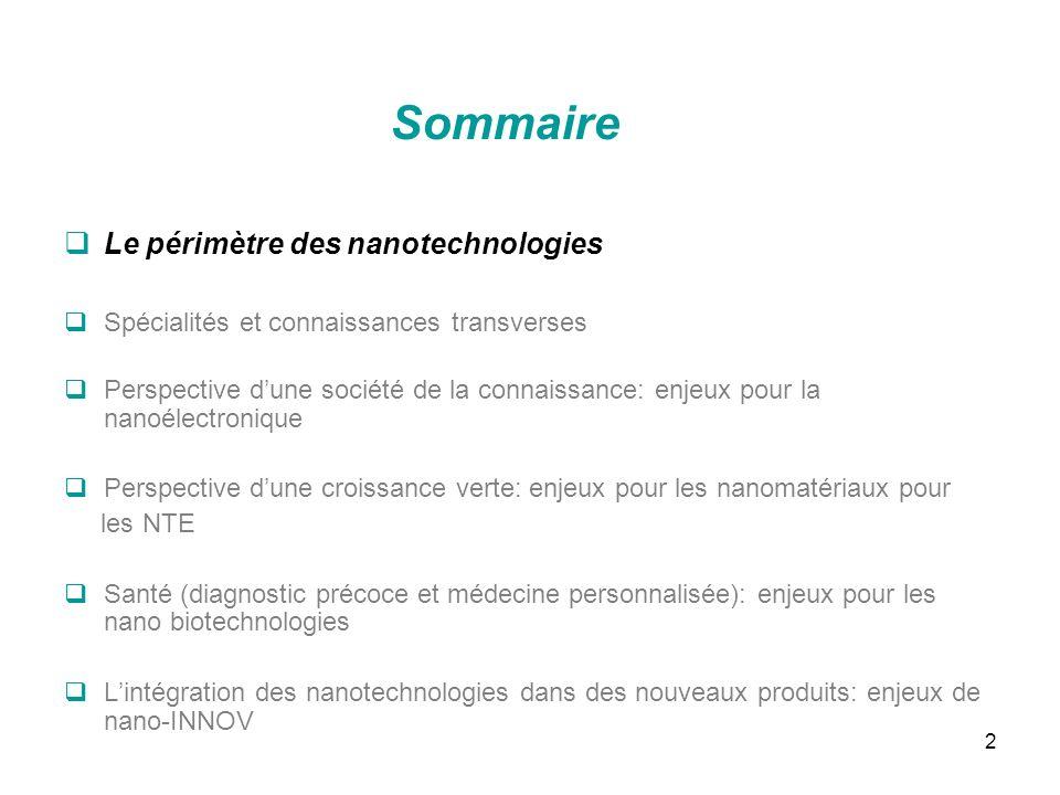 2 Sommaire Le périmètre des nanotechnologies Spécialités et connaissances transverses Perspective dune société de la connaissance: enjeux pour la nano