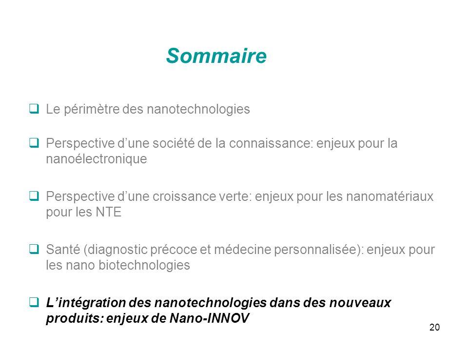 20 Sommaire Le périmètre des nanotechnologies Perspective dune société de la connaissance: enjeux pour la nanoélectronique Perspective dune croissance