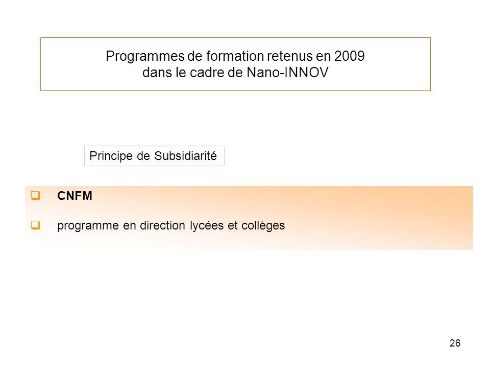 26 Programmes de formation retenus en 2009 dans le cadre de Nano-INNOV CNFM programme en direction lycées et collèges Principe de Subsidiarité