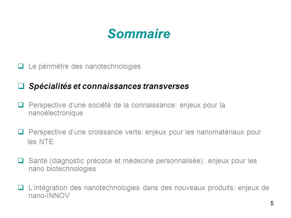 5 Sommaire Le périmètre des nanotechnologies Spécialités et connaissances transverses Perspective dune société de la connaissance: enjeux pour la nano