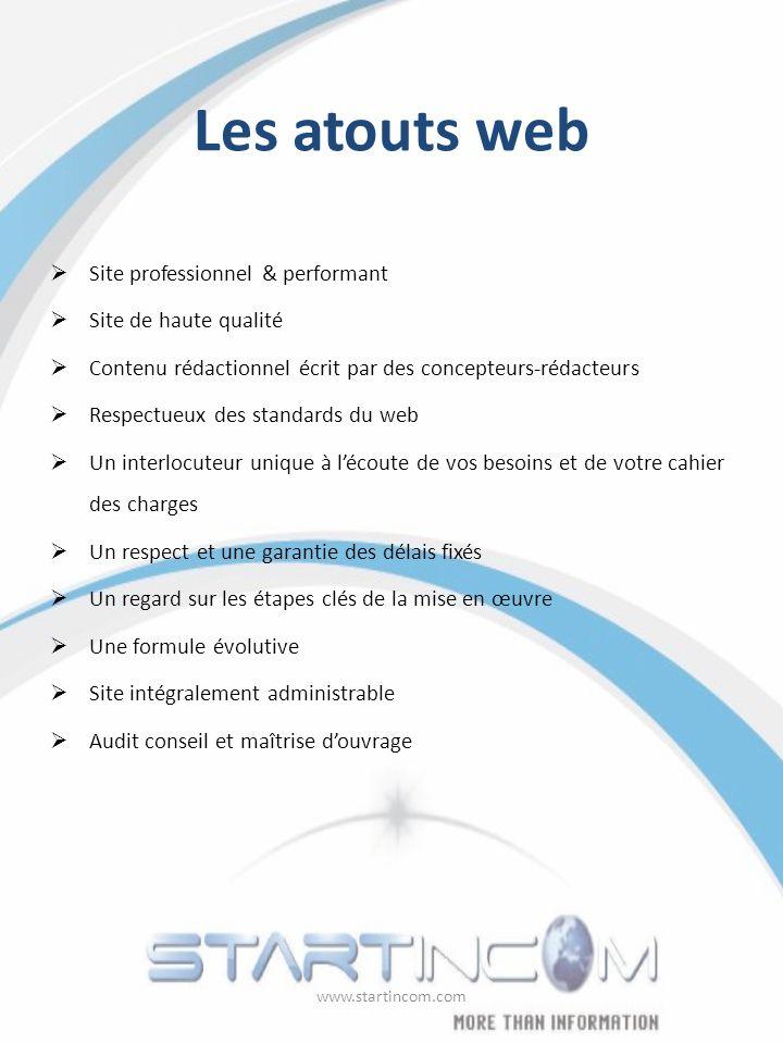 Les atouts web Site professionnel & performant Site de haute qualité Contenu rédactionnel écrit par des concepteurs-rédacteurs Respectueux des standar