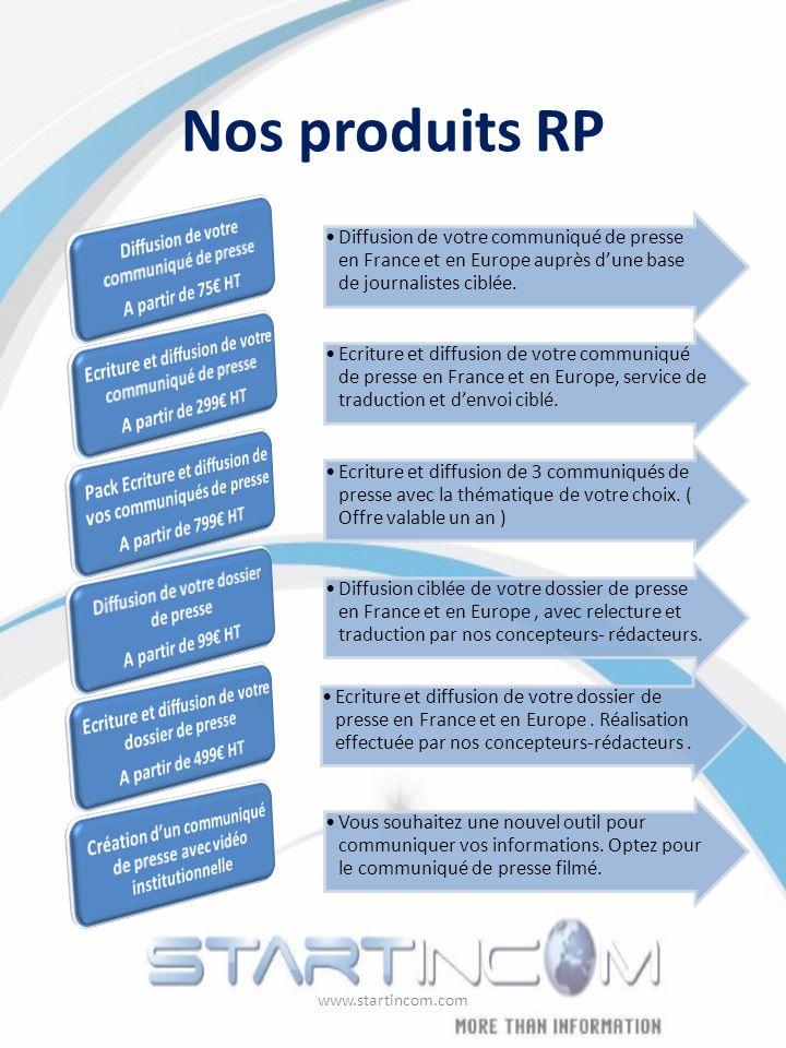 Nos produits RP Diffusion de votre communiqué de presse en France et en Europe auprès dune base de journalistes ciblée. Ecriture et diffusion de votre