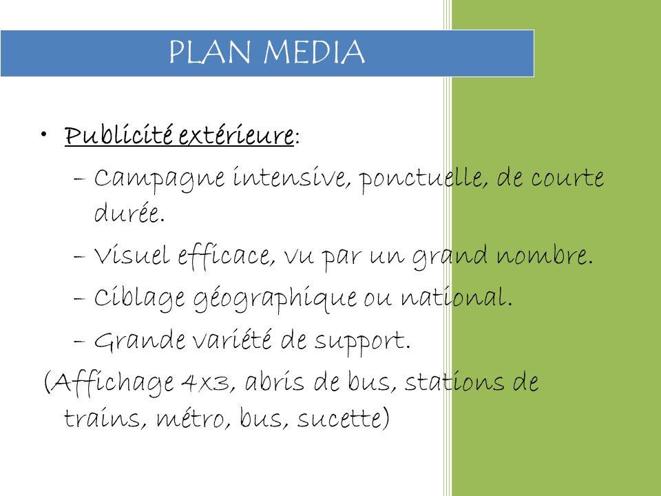 Publicité extérieure: –Campagne intensive, ponctuelle, de courte durée.