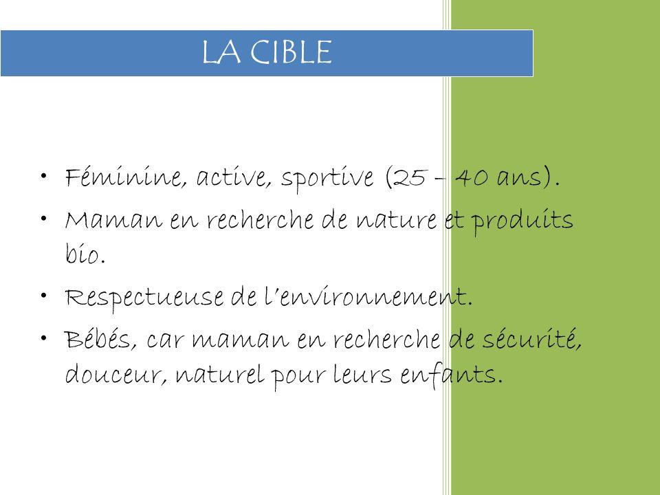 Féminine, active, sportive (25 – 40 ans).Maman en recherche de nature et produits bio.