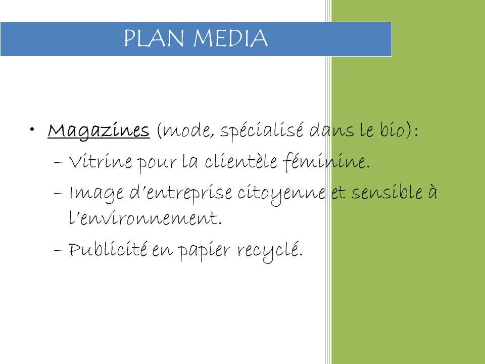 Magazines (mode, spécialisé dans le bio): –Vitrine pour la clientèle féminine.