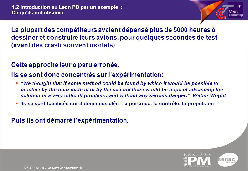VIN00-COM-0909a Copyright Vinci Consulting 2009 1.2 Introduction au Lean PD par un exemple : Ce quils ont observé nLa plupart des compétiteurs avaient