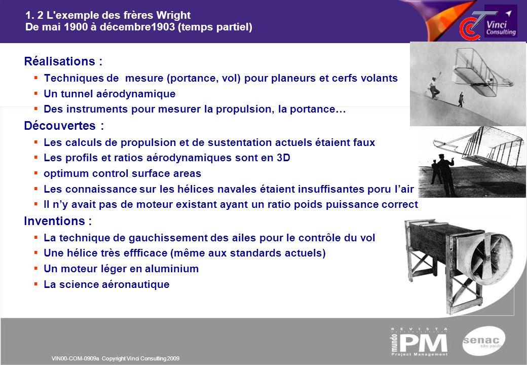 VIN00-COM-0909a Copyright Vinci Consulting 2009 1. 2 L'exemple des frères Wright De mai 1900 à décembre1903 (temps partiel) nRéalisations : Techniques