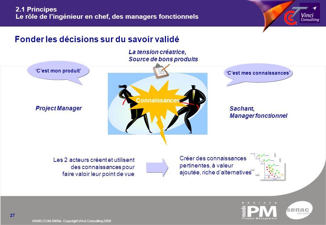 VIN00-COM-0909a Copyright Vinci Consulting 2009 2.1 Principes Le rôle de lingénieur en chef, des managers fonctionnels nFonder les décisions sur du sa