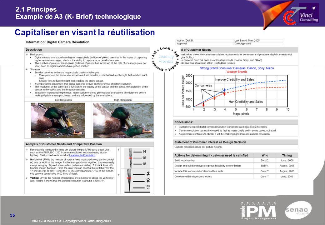 VIN00-COM-0909a Copyright Vinci Consulting 2009 2.1 Principes Example de A3 (K- Brief) technologique nCapitaliser en visant la réutilisation 35 Learni