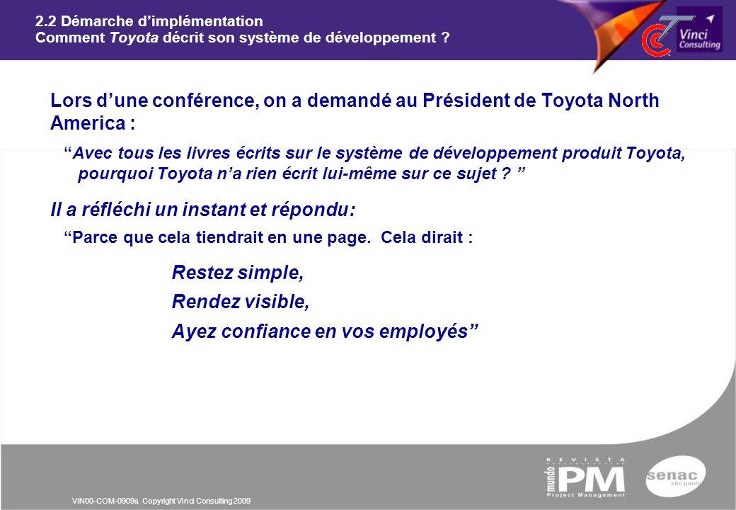 VIN00-COM-0909a Copyright Vinci Consulting 2009 2.2 Démarche dimplémentation Comment Toyota décrit son système de développement ? nLors dune conférenc