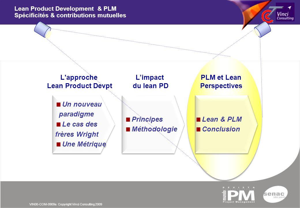 VIN00-COM-0909a Copyright Vinci Consulting 2009 Lean & PLM Conclusion Lean & PLM Conclusion Lean Product Development & PLM Spécificités & contribution