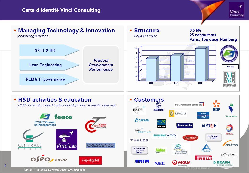VIN00-COM-0909a Copyright Vinci Consulting 2009 4 Carte didentité Vinci Consulting Structure Founded 1992 Paris Toulouse Hamburg 3,5 M 25 consultants