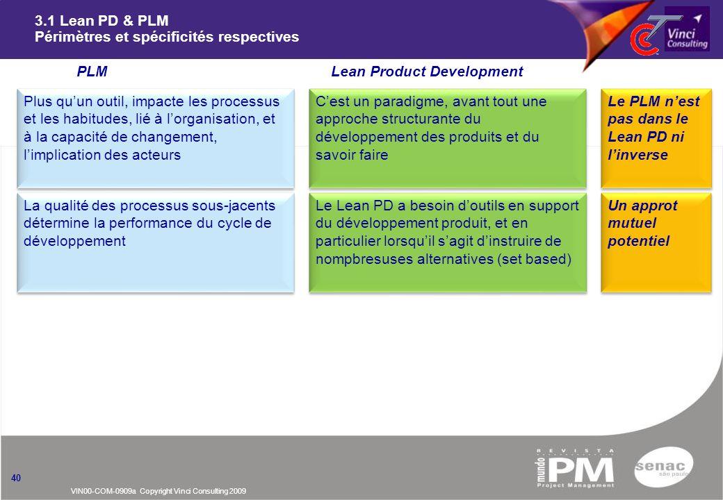 VIN00-COM-0909a Copyright Vinci Consulting 2009 3.1 Lean PD & PLM Périmètres et spécificités respectives 40 PLMnLean Product Development La qualité de