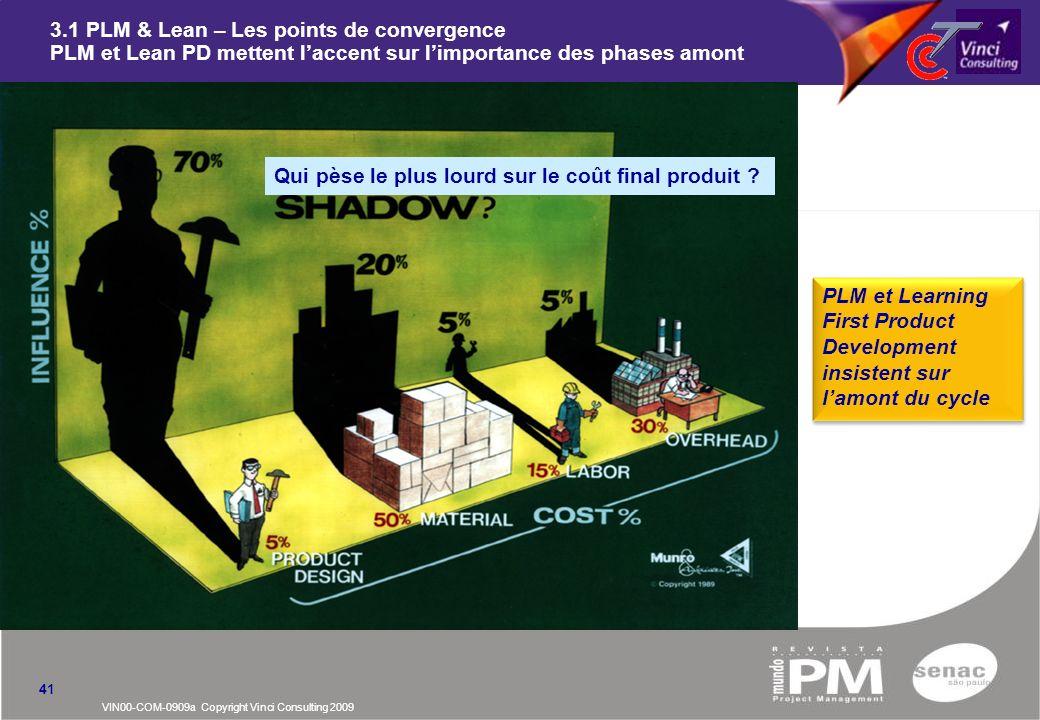 VIN00-COM-0909a Copyright Vinci Consulting 2009 3.1 PLM & Lean – Les points de convergence PLM et Lean PD mettent laccent sur limportance des phases a