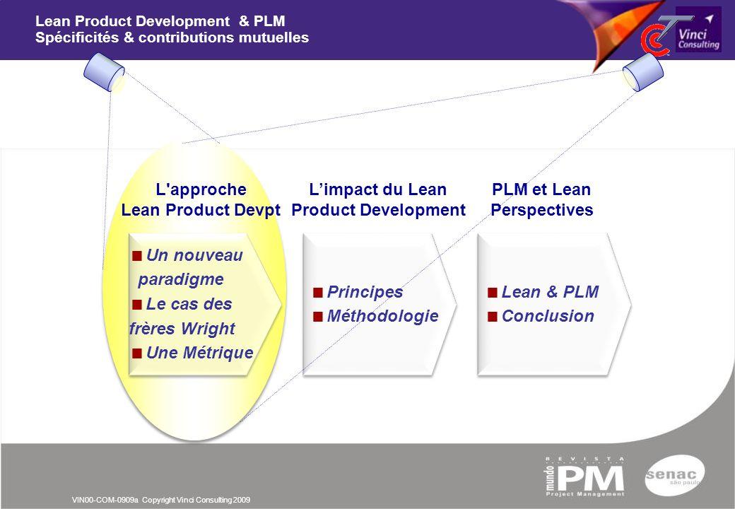 VIN00-COM-0909a Copyright Vinci Consulting 2009 Principes Méthodologie Principes Méthodologie Limpact du Lean Product Development PLM et Lean Perspect