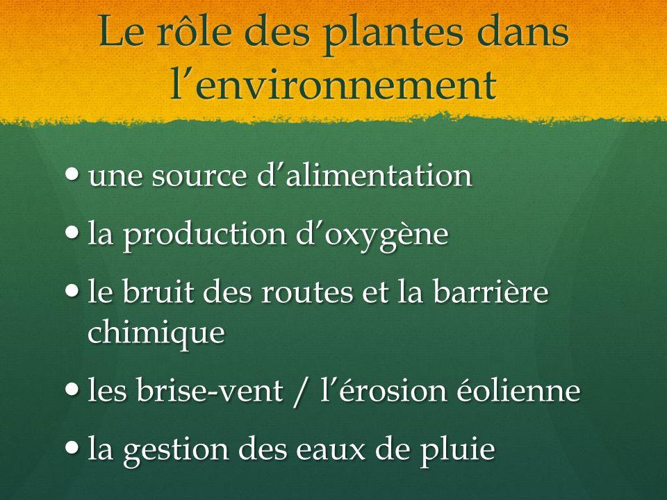 Le rôle des plantes dans lenvironnement une source dalimentation une source dalimentation la production doxygène la production doxygène le bruit des r