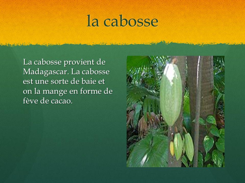 la cabosse La cabosse provient de Madagascar. La cabosse est une sorte de baie et on la mange en forme de fève de cacao.