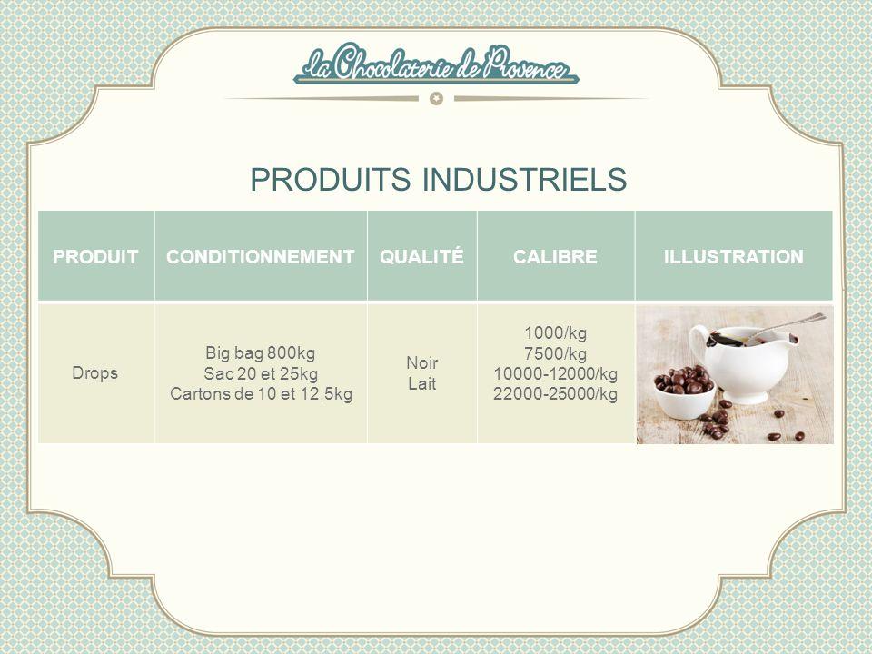 PRODUITS INDUSTRIELS PRODUITCONDITIONNEMENTQUALITÉCALIBREILLUSTRATION Drops Big bag 800kg Sac 20 et 25kg Cartons de 10 et 12,5kg Noir Lait 1000/kg 750
