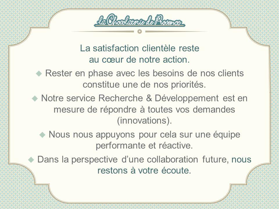 La satisfaction clientèle reste au cœur de notre action. Rester en phase avec les besoins de nos clients constitue une de nos priorités. Notre service