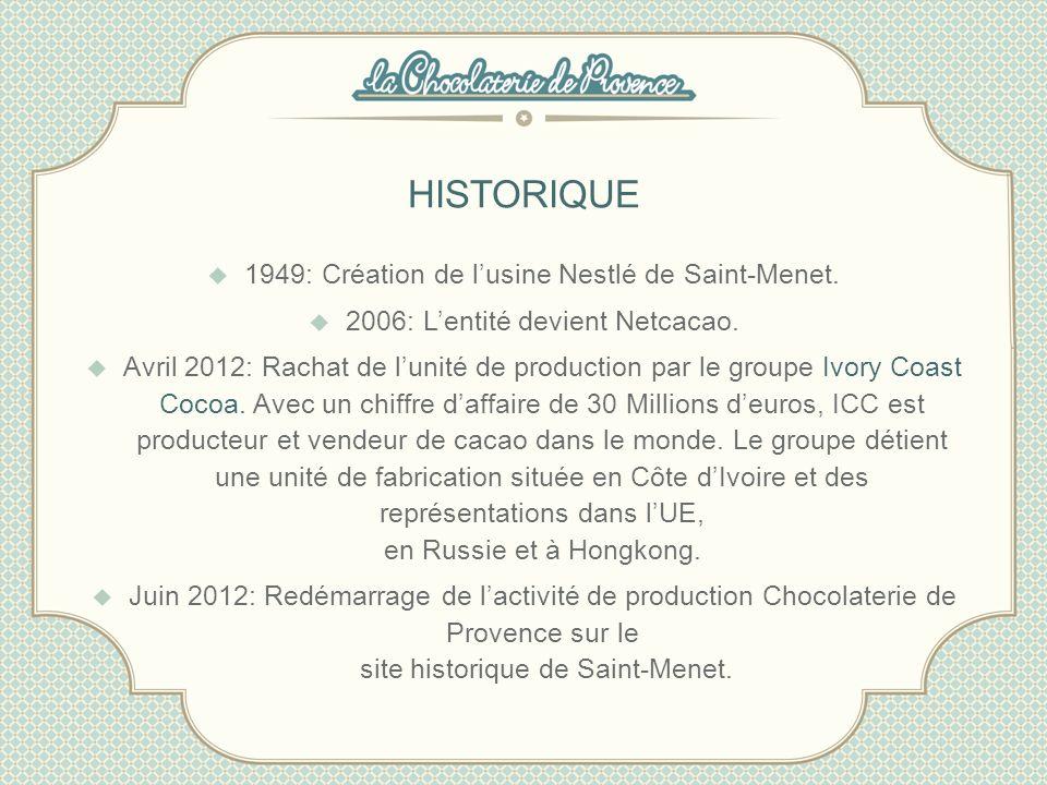 HISTORIQUE 1949: Création de lusine Nestlé de Saint-Menet. 2006: Lentité devient Netcacao. Avril 2012: Rachat de lunité de production par le groupe Iv
