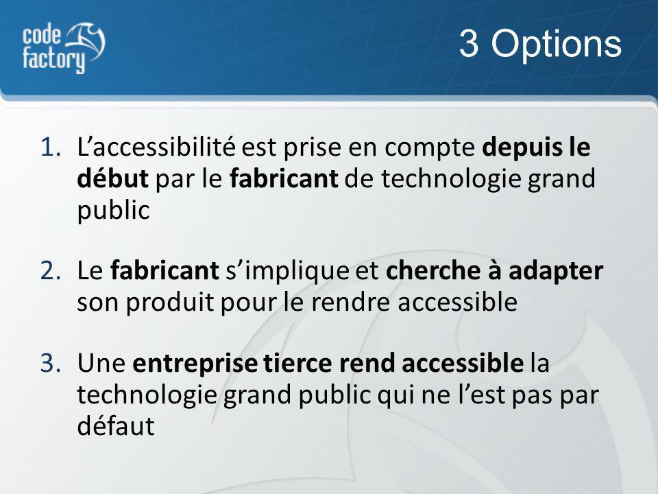 3 Options 1.Laccessibilité est prise en compte depuis le début par le fabricant de technologie grand public 2.Le fabricant simplique et cherche à adapter son produit pour le rendre accessible 3.Une entreprise tierce rend accessible la technologie grand public qui ne lest pas par défaut