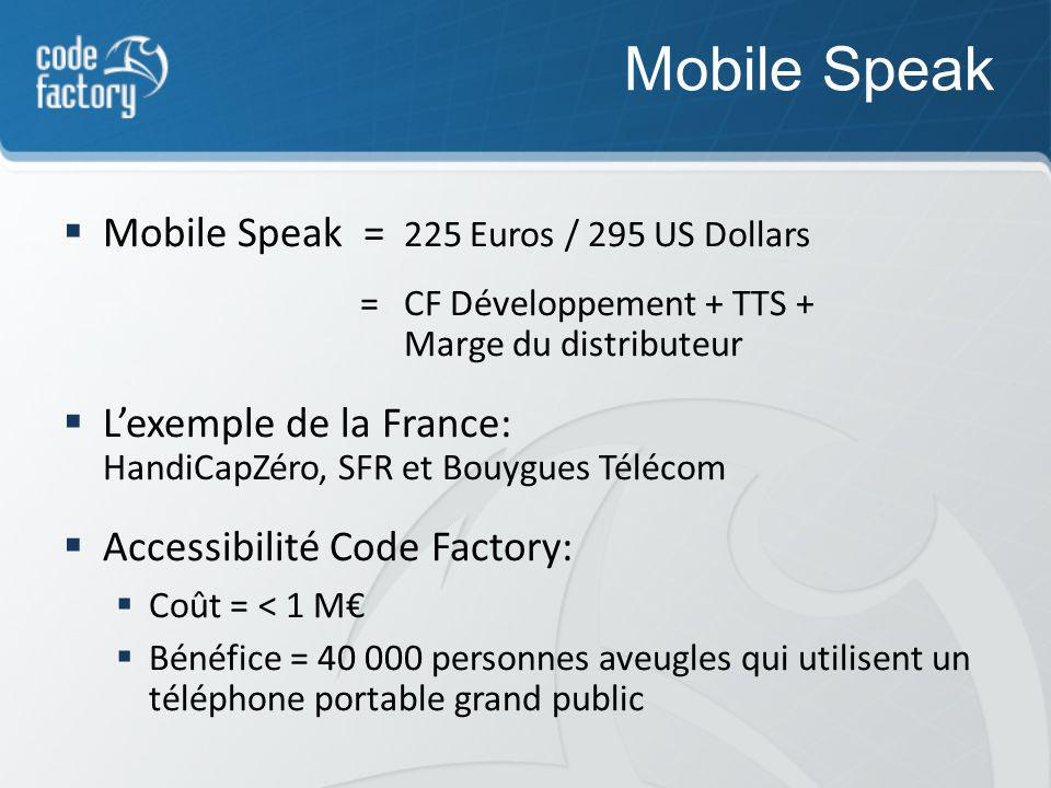 Mobile Speak Mobile Speak = 225 Euros / 295 US Dollars = CF Développement + TTS + Marge du distributeur Lexemple de la France: HandiCapZéro, SFR et Bouygues Télécom Accessibilité Code Factory: Coût = < 1 M Bénéfice = 40 000 personnes aveugles qui utilisent un téléphone portable grand public