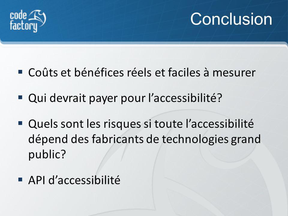 Conclusion Coûts et bénéfices réels et faciles à mesurer Qui devrait payer pour laccessibilité.