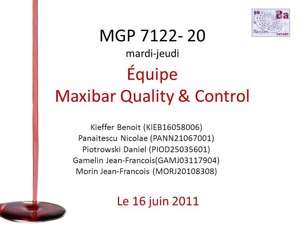 Équipe Maxibar Quality & Control Kieffer Benoit (KIEB16058006) Panaitescu Nicolae (PANN21067001) Piotrowski Daniel (PIOD25035601) Gamelin Jean-Francoi