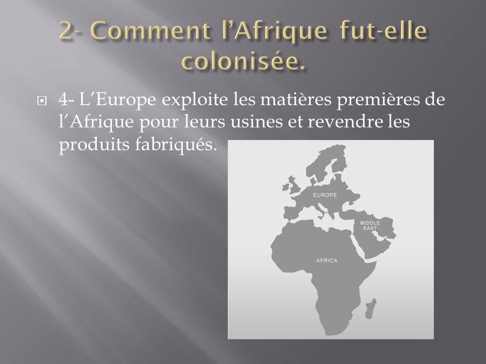 4- LEurope exploite les matières premières de lAfrique pour leurs usines et revendre les produits fabriqués.