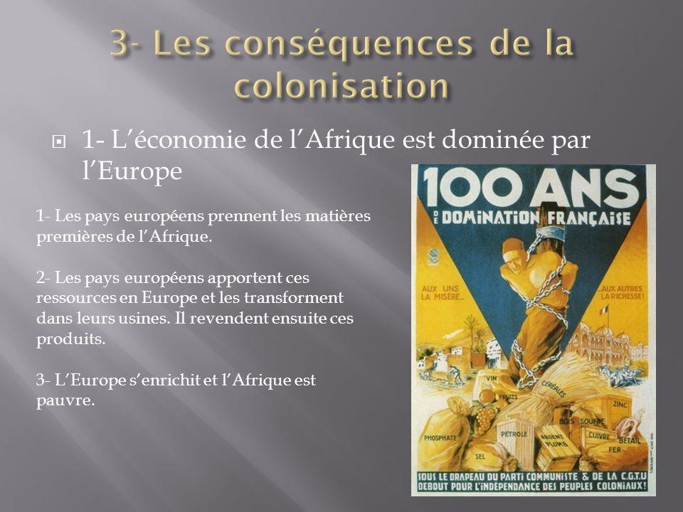 1- Léconomie de lAfrique est dominée par lEurope 1- Les pays européens prennent les matières premières de lAfrique. 2- Les pays européens apportent ce