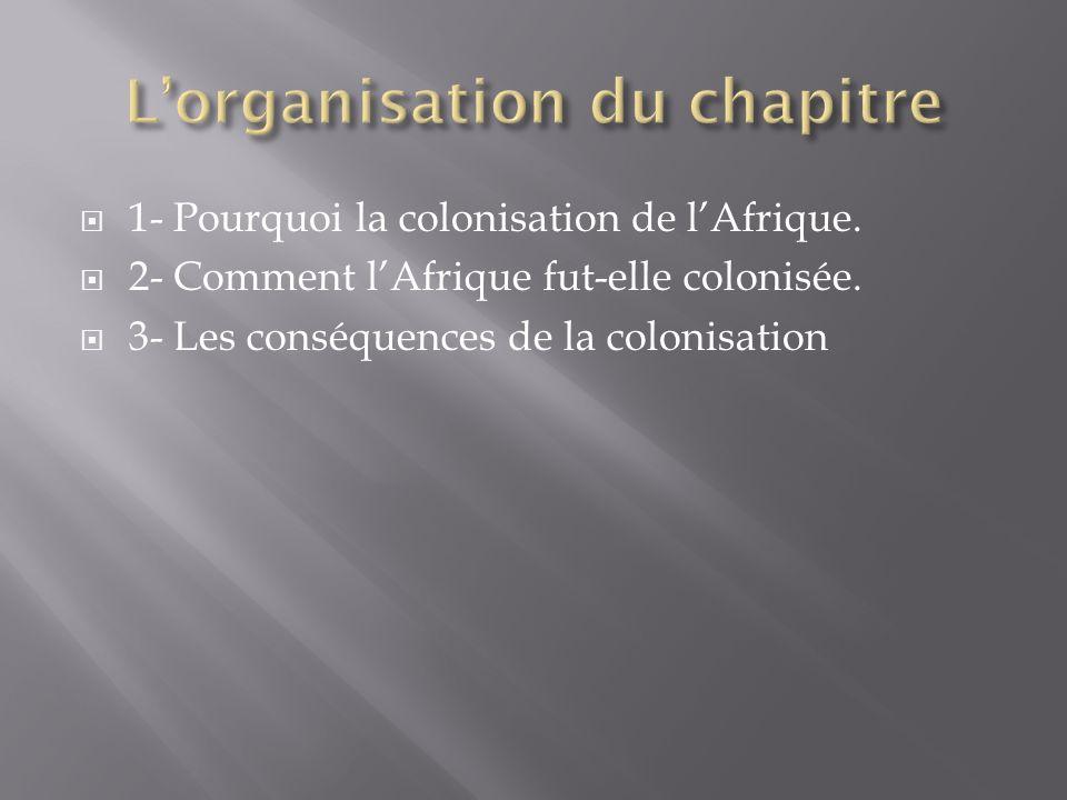 1- Pourquoi la colonisation de lAfrique. 2- Comment lAfrique fut-elle colonisée. 3- Les conséquences de la colonisation
