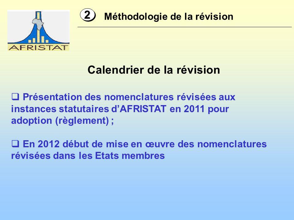 Méthodologie de la révision 22 Présentation des nomenclatures révisées aux instances statutaires dAFRISTAT en 2011 pour adoption (règlement) ; En 2012