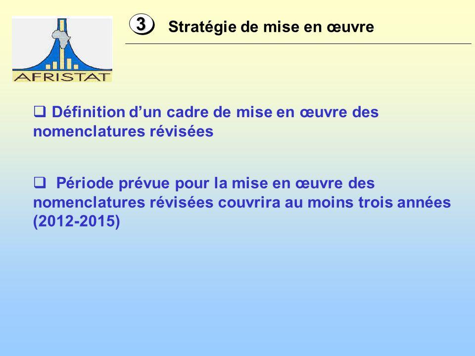 Stratégie de mise en œuvre 33 Définition dun cadre de mise en œuvre des nomenclatures révisées Période prévue pour la mise en œuvre des nomenclatures révisées couvrira au moins trois années (2012-2015)
