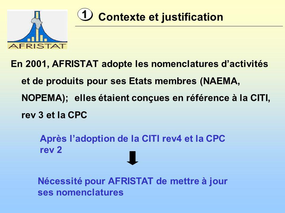 En 2001, AFRISTAT adopte les nomenclatures dactivités et de produits pour ses Etats membres (NAEMA, NOPEMA); elles étaient conçues en référence à la CITI, rev 3 et la CPC Contexte et justification 11 Nécessité pour AFRISTAT de mettre à jour ses nomenclatures Après ladoption de la CITI rev4 et la CPC rev 2