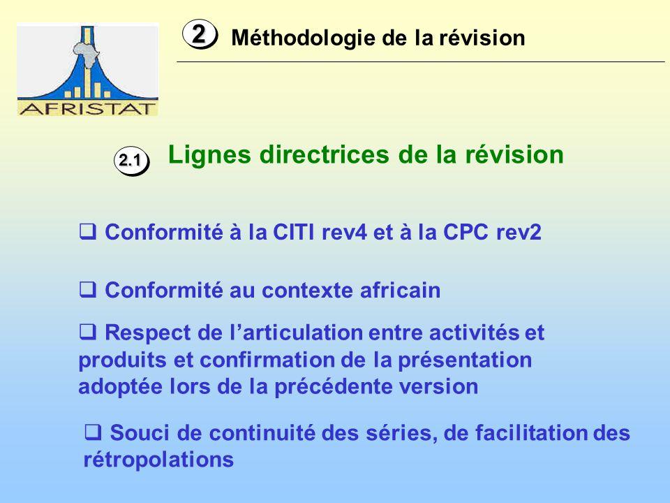 Lignes directrices de la révision Méthodologie de la révision 22 Conformité à la CITI rev4 et à la CPC rev2 Conformité au contexte africain 2.12.1 Res