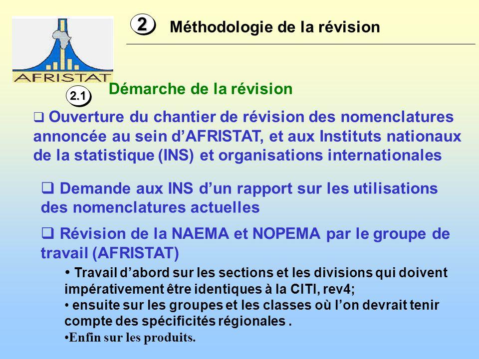 Méthodologie de la révision 22 Ouverture du chantier de révision des nomenclatures annoncée au sein dAFRISTAT, et aux Instituts nationaux de la statis