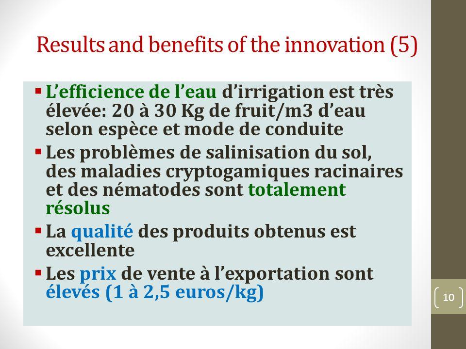 Results and benefits of the innovation (5) Lefficience de leau dirrigation est très élevée: 20 à 30 Kg de fruit/m3 deau selon espèce et mode de condui