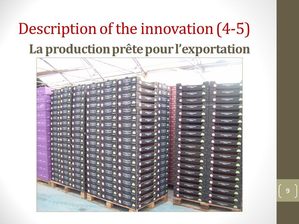 La production prête pour lexportation 9 Description of the innovation (4-5)