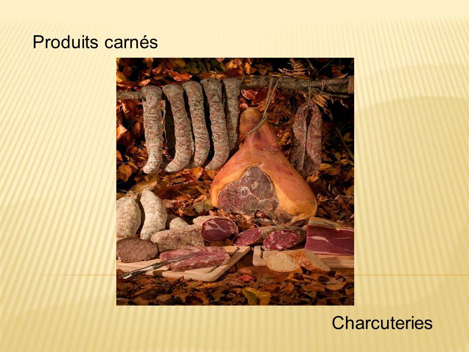 Saucisses crues (maturation interrompue) Saucisse aux choux Mergez Saucisse à rôtir Boutefas Saucisson vaudois