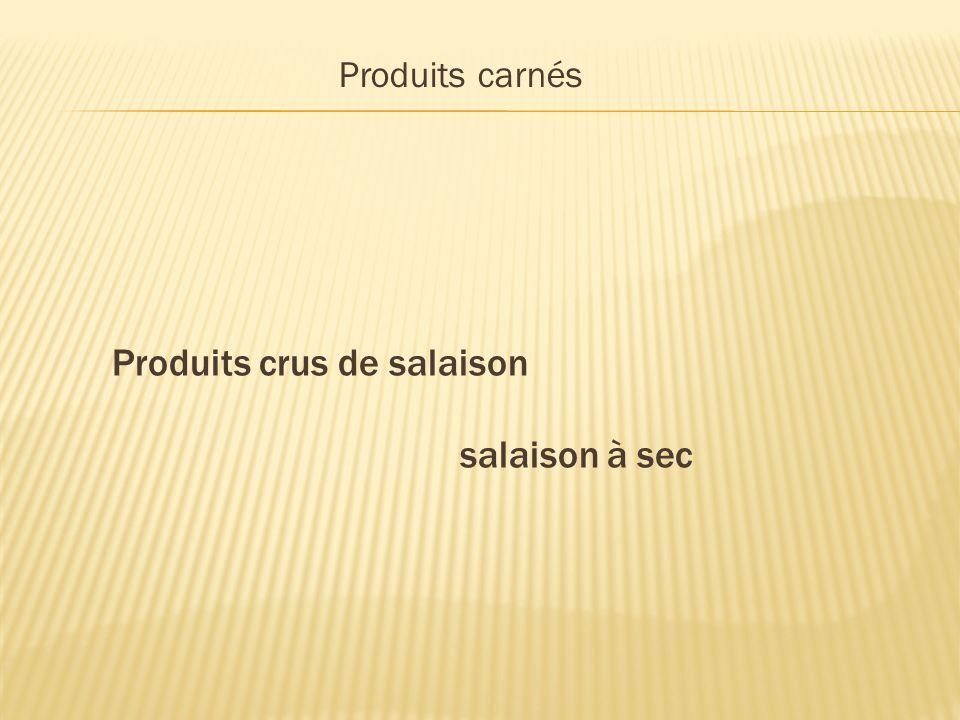 Produits carnés Produits crus de salaison salaison à sec