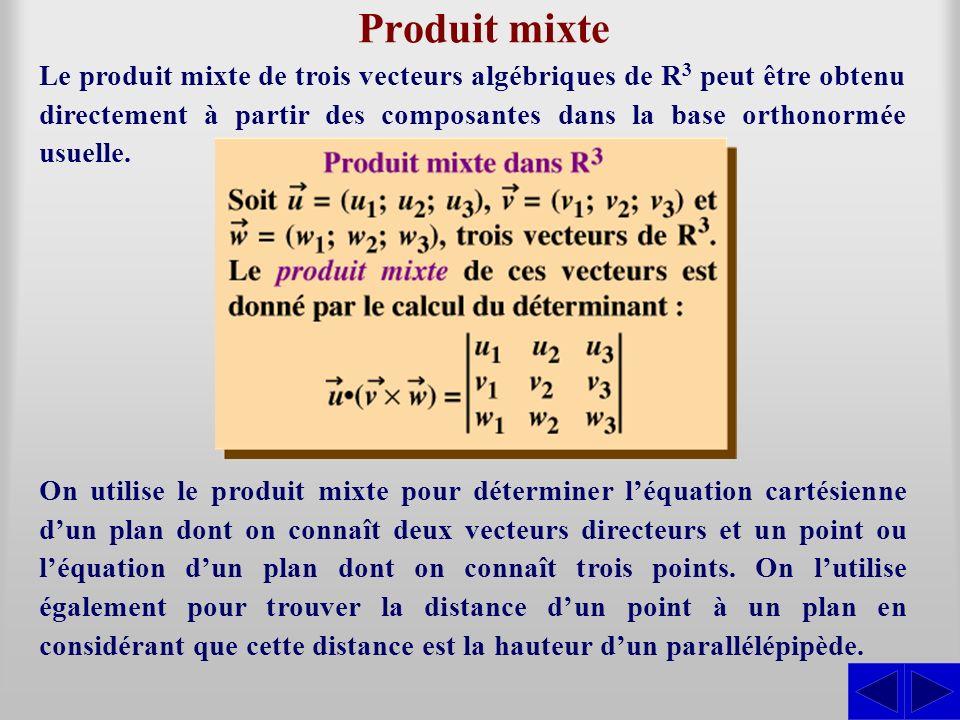 On utilise le produit mixte pour déterminer léquation cartésienne dun plan dont on connaît deux vecteurs directeurs et un point ou léquation dun plan