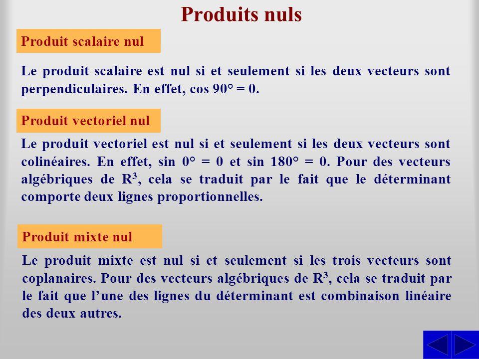 Produits nuls Le produit scalaire est nul si et seulement si les deux vecteurs sont perpendiculaires. En effet, cos 90° = 0. Le produit vectoriel est