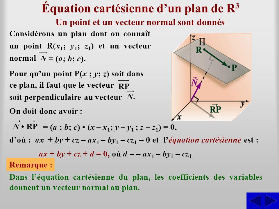Équation cartésienne dun plan de R 3 doù : ax + by + cz – ax 1 – by 1 – cz 1 = 0 et léquation cartésienne est : Un point et un vecteur normal sont don