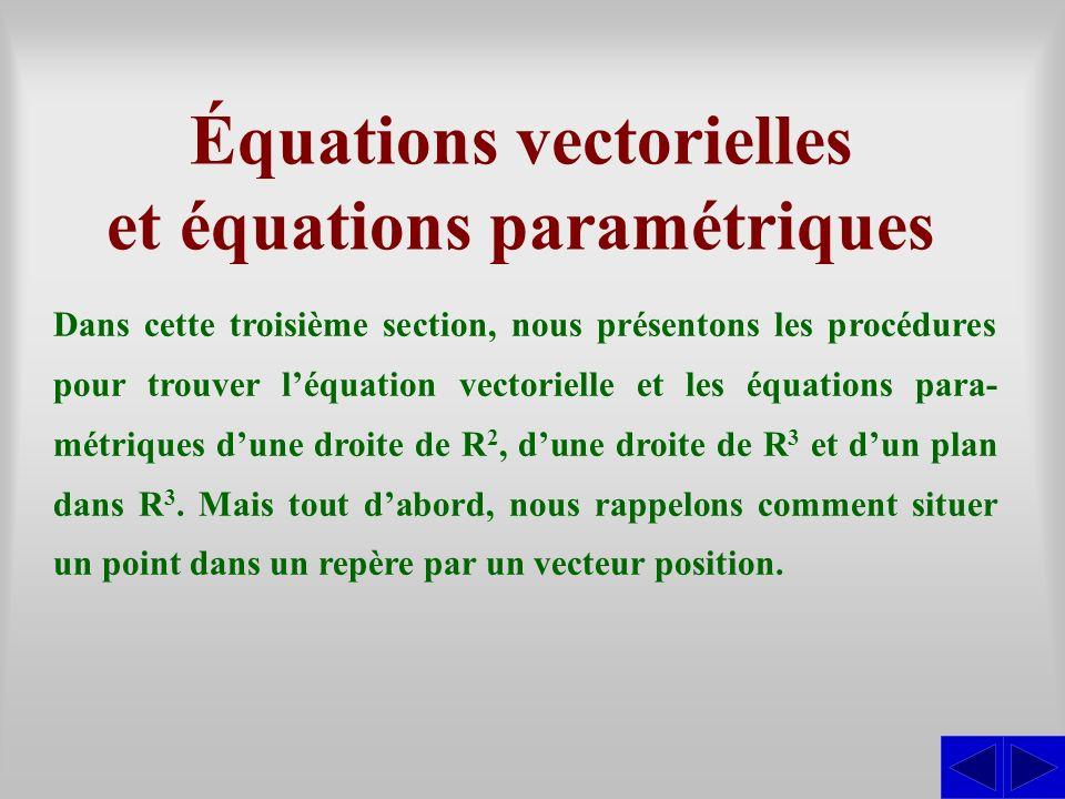Équations vectorielles et équations paramétriques Dans cette troisième section, nous présentons les procédures pour trouver léquation vectorielle et l