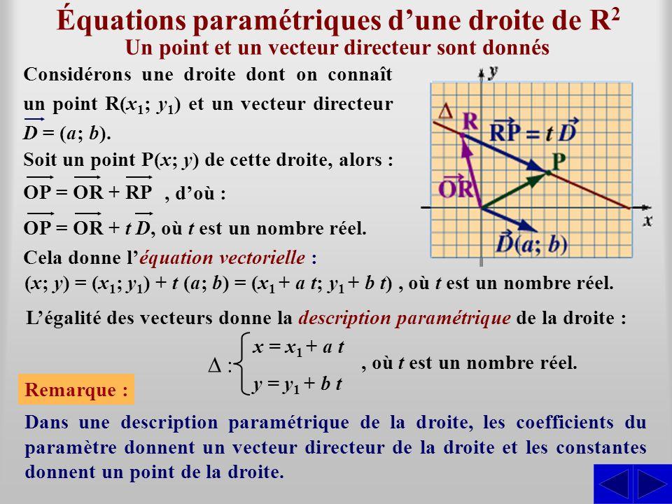 Équations paramétriques dune droite de R2R2 Considérons une droite dont on connaît un point R(x 1 ; y 1 ) et un vecteur directeur D = (a; b). Soit un