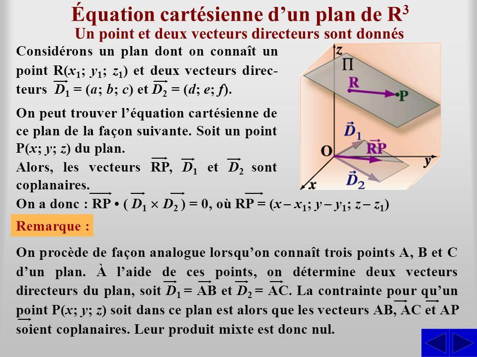Équation cartésienne dun plan de R 3 On peut trouver léquation cartésienne de ce plan de la façon suivante. Soit un point P(x; y; z) du plan. Remarque