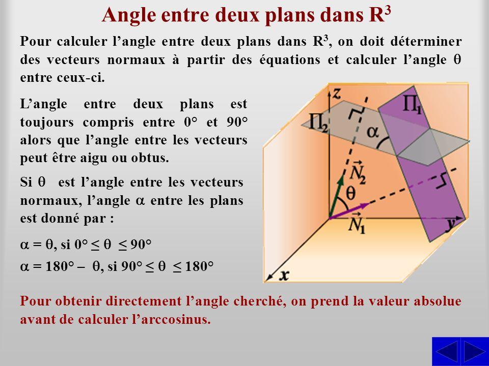 Angle entre deux plans dans R 3 Pour calculer langle entre deux plans dans R 3, on doit déterminer des vecteurs normaux à partir des équations et calc