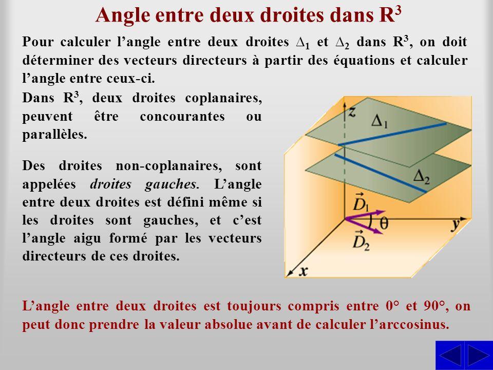 Angle entre deux droites dans R 3 Pour calculer langle entre deux droites 1 et 2 dans R 3, on doit déterminer des vecteurs directeurs à partir des équ